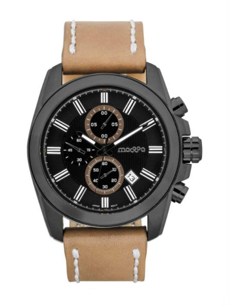 MASSA Riplay 02 Chronograph Men's Watch - Black & Brown - VixenQue - 1