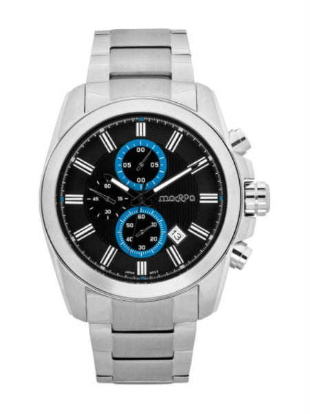 MASSA Riplay 04 Chronograph Men's Watch - Silver & Black - VixenQue - 1