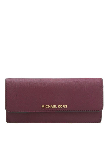 Michael Kors 32F3GTVE7L Jet Set Travel Slim Saffiano Leather Wallet - Plum