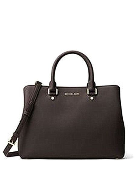 Michael Kors Savannah Large Saffiano Leather Satchel - Coffee - VixenQue