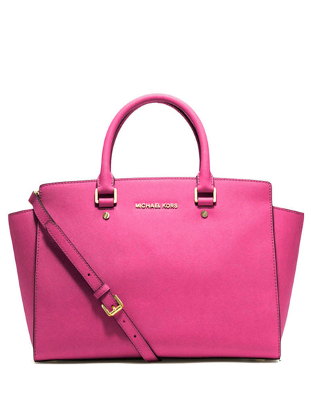 Michael Kors Selma Saffiano Leather Medium Satchel - Fuchsia - VixenQue - 1