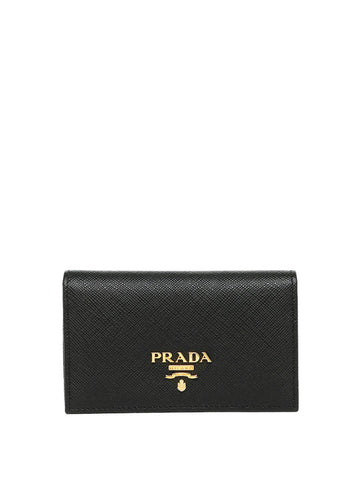 Prada 1MC122 Vitello Saffiano Card Case - Nero - VixenQue - 1