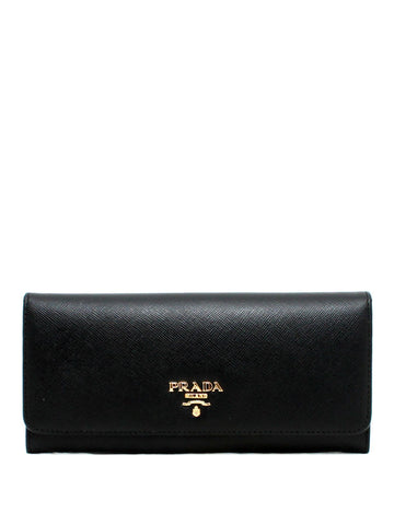 Prada 1MH132 Saffiano Leather Bi-fold Continental Wallet - Nero - VixenQue - 1