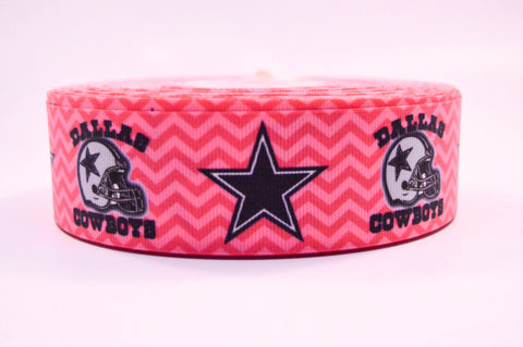 "1.5"" Wide Pink Chevron Dallas Cowboys Printed on Grosgrain Ribbon"