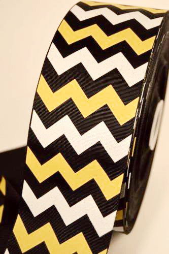 "3"" Black Yellow and White Glitter Chevron Stripe Grossgrain Cheerbow Ribbon"