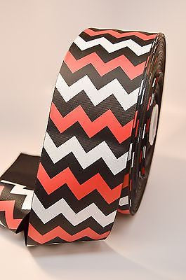 "3"" Black Red and White Glitter Chevron Stripe Grosgrain Cheer Bow Ribbon"