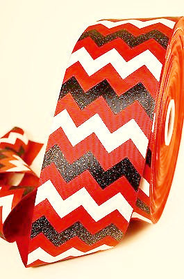 "3"" Red Black and White Glitter Chevron Striped Grosgrain Cheer Bow Ribbon"