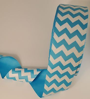 "3"" Wide Turquoise Blue Chevron Grosgrain Cheerbow Ribbon"