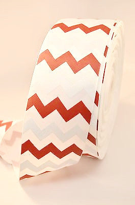 "3"" Red and White Glitter Chevron Stripe Grosgrain Cheer Bow Ribbon"