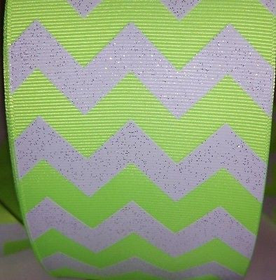 "3"" Neon Yellow White Chevron Stripe"