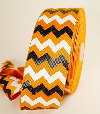 "3"" Orange Black and White Glitter Chevron Striped Grosgrain Cheer Bow Ribbon"