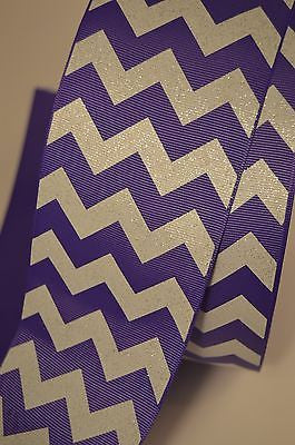 "3"" Wide Lavender White Chevron Stripe Glitter Grosgrain Cheer Bow Ribbon"