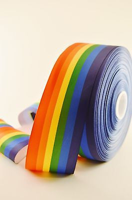"3"" Wide Rainbow Pride Print on White Grosgrain Cheer Bow Ribbon"