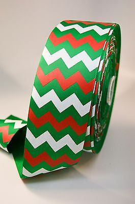 "3"" Green, Red and White Glitter Chevron Stripe Grosgrain Cheer Bow Ribbon"
