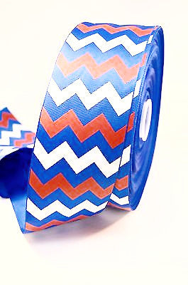 "3"" Royal Blue , Red and White Glitter Chevron Stripe Grosgrain Cheer Bow Ribbon"