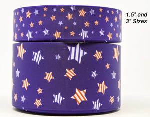 "1.5"" Wide Blue with Stars 4th of July Printed on White Grosgrain Cheer Bow Ribbon"