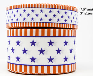 "1.5"" Wide Red White Blue Stars Stripes USA 4th of July Printed on White Grosgrain Cheer Bow Ribbon"