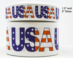 "1.5"" Wide White USA 4th of July Printed on White Grosgrain Cheer Bow Ribbon"