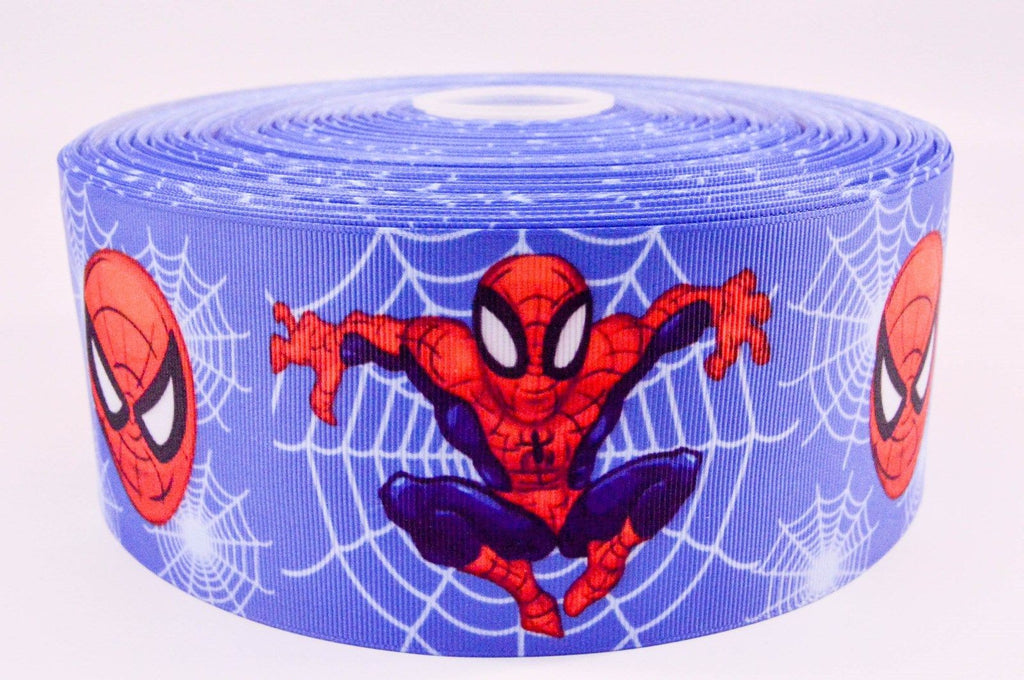 "3"" Wide Blue Spiderman Printed on Grosgrain Cheer Bow Ribbon"