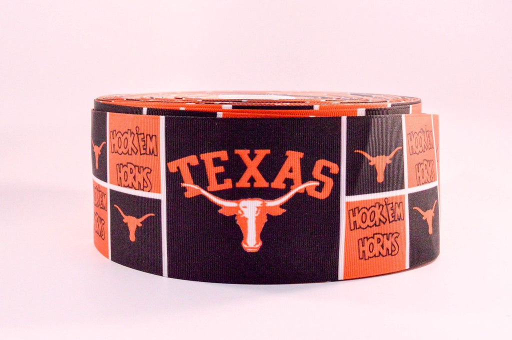 "3"" Wide Texas Longhorns Printed on White Grosgrain Cheer Bow Ribbon"