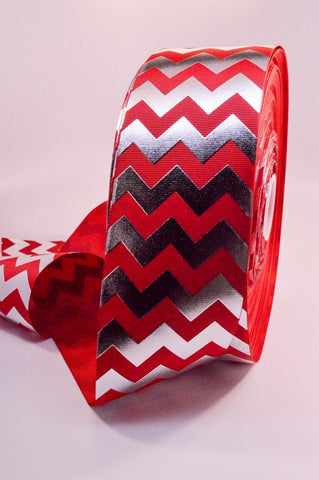 "3"" Red and Silver Foil Chevron Striped Grosgrain Cheer Bow Ribbon"