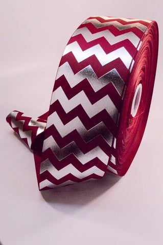 "3"" Crimson and Silver Foil Chevron Striped Grosgrain Cheer Bow Ribbon"