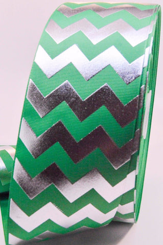 "3"" Emerald Green and Silver Foil Chevron Striped Grosgrain Cheer Bow Ribbon"