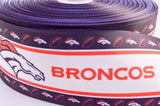"3"" Wide Denver Broncos Striped Print on White Grosgrain Cheer Bow Ribbon"