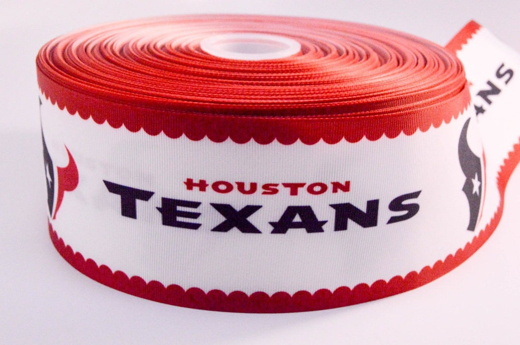 "3"" Wide Houston Texans Printed on White Grosgrain Cheer Bow Ribbon"