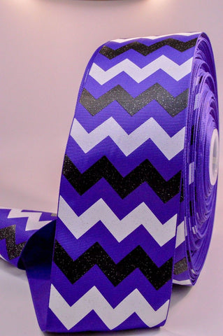 "3"" Purple Black and White Glitter Chevron Striped Grosgrain Cheer Bow Ribbon"