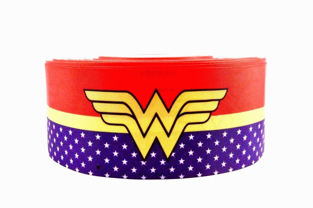 "3"" Wide Wonderwoman Printed on Grosgrain Cheer Bow Ribbon"