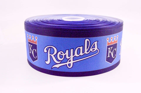 "3"" Wide Baseball Kansas City Royals Sport on Grosgrain Cheer Bow Ribbon"