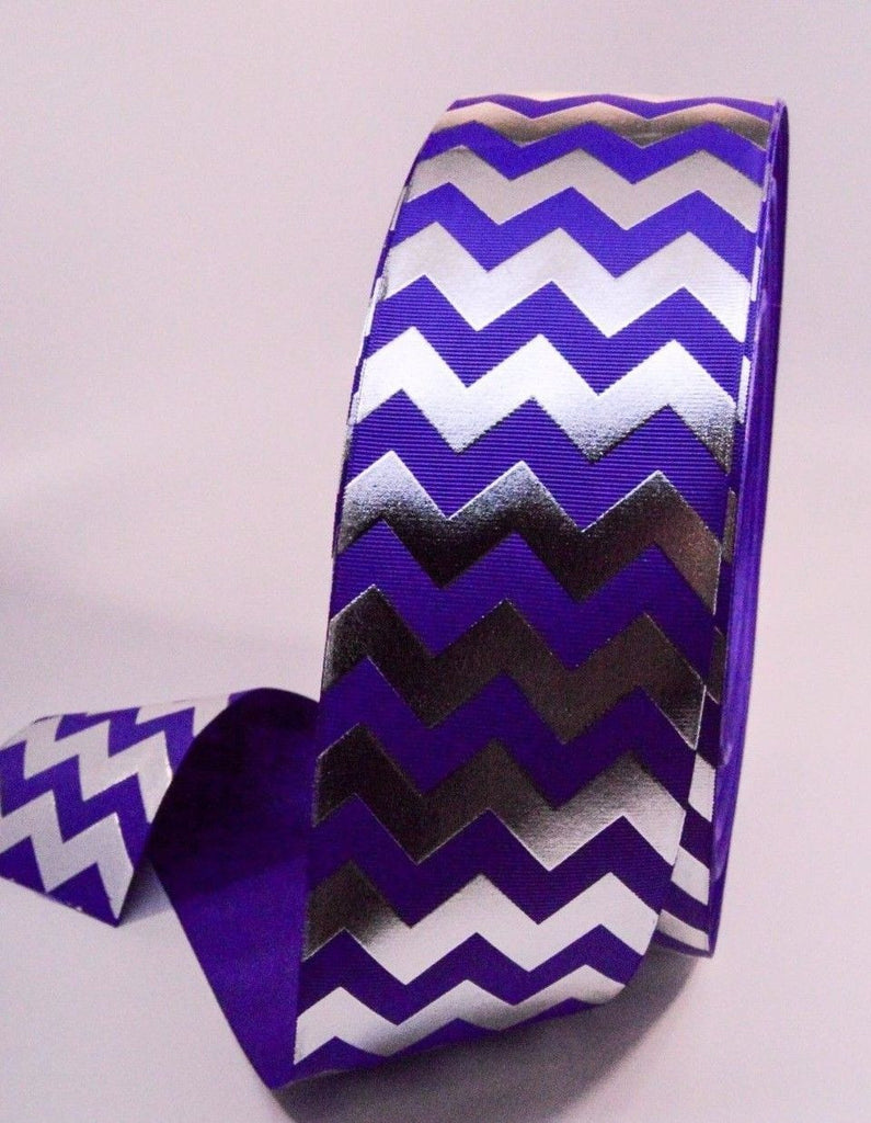 "3"" Purple and Silver Foil Chevron Striped Grosgrain Cheer Bow Ribbon"