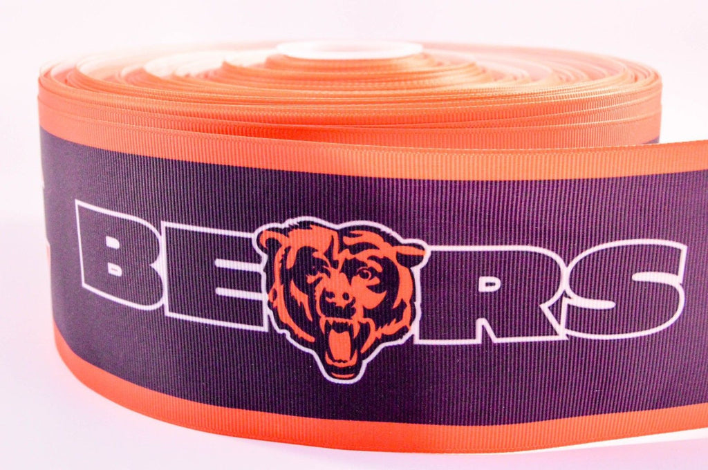 "3"" Wide Chicago Bears Printed on White Grosgrain Cheer Bow Ribbon"
