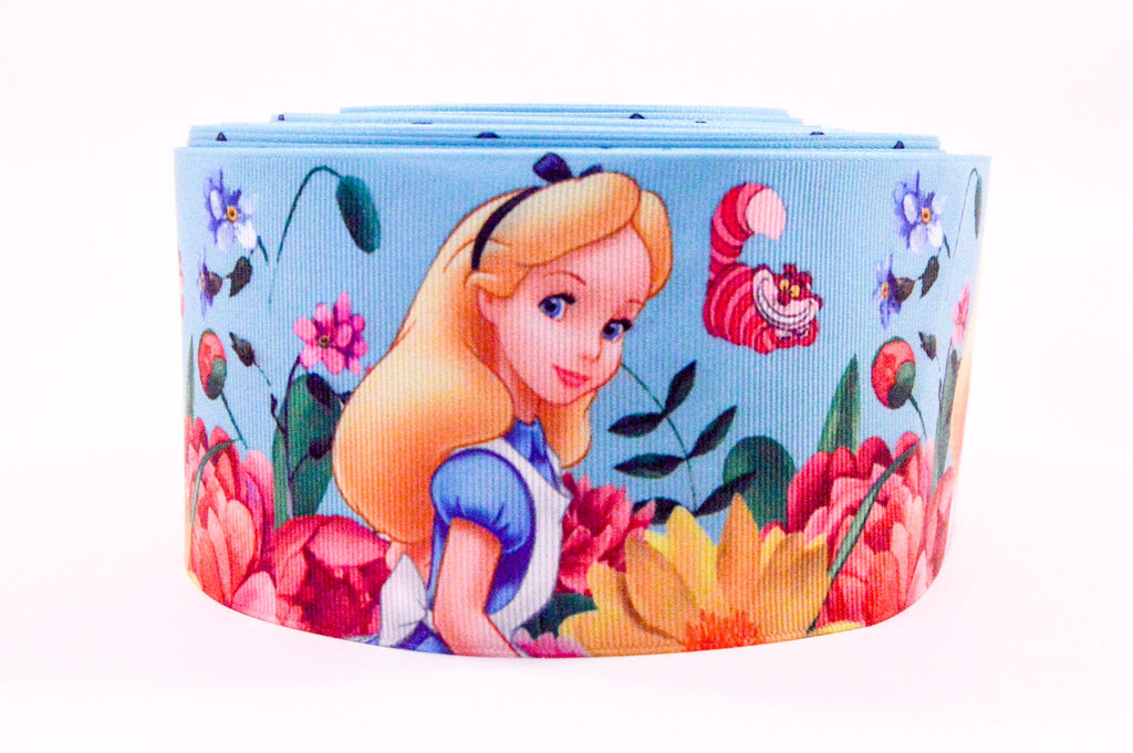 "3"" Wide Alice In Wonderland Printed on Grosgrain Cheer Bow Ribbon"