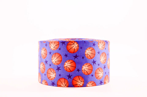 "3"" Wide Basketballs and Stars Printed on Grosgrain Cheer Bow Ribbon"
