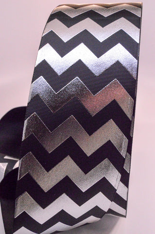 "3"" Black and Silver Foil Chevron Striped Grosgrain Cheer Bow Ribbon"