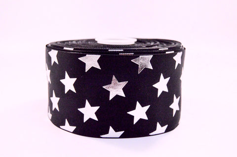 "3"" Black and Silver Foil STARS Grosgrain Cheer Bow Ribbon"