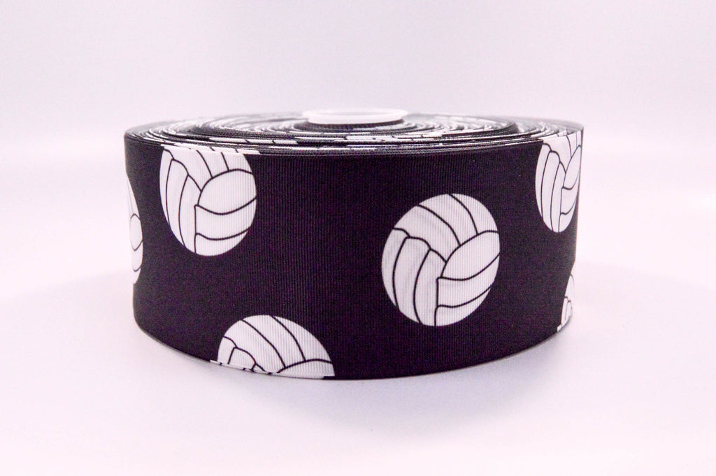 "3"" Wide Black Volleyballs Printed on White Grosgrain Cheer Bow Ribbon"