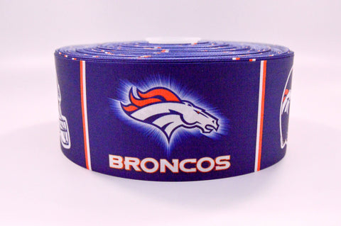 "3"" Wide Block Broncos Printed on White Grosgrain Cheer Bow Ribbon"