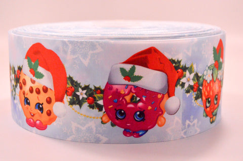 "3"" Wide Holiday Shopkins Shoppies Printed on Grosgrain Cheer Bow Ribbon"