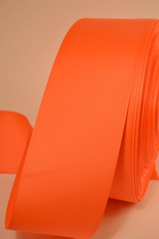 "2 Yards of 3"" Solid Orange Neon Grosgrain Crafts Decoration and Cheer Bow Ribbon"