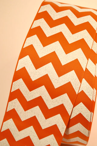 "3"" Orange White Chevron Stripe Glitter Cheer Bow Ribbon"