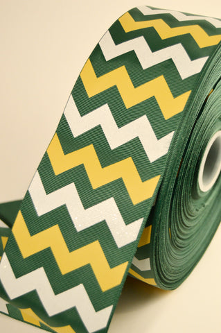 "3"" Forest Green, Yellow and White Glitter Chevron Striped Grosgrain Cheer Bow Ribbon"