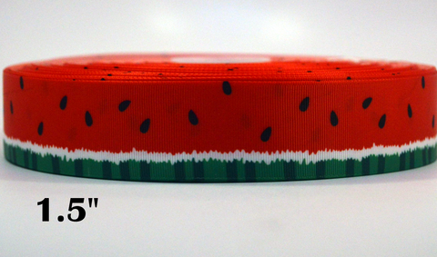 "1.5 "" Wide Watermelon Printed on Grosgrain Cheer Bow Ribbon"