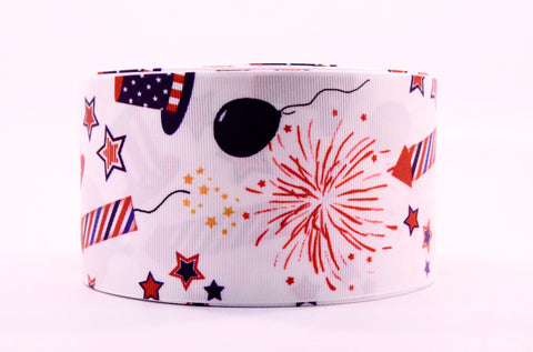 "3"" Wide Fire Crackers Printed on White Grosgrain Cheer Bow Ribbon"