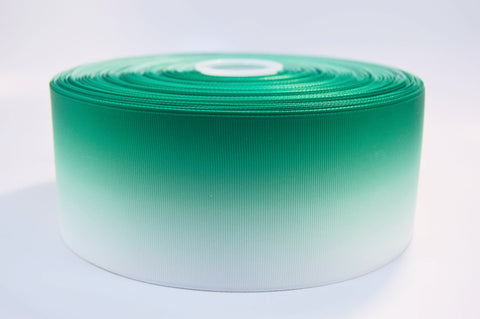 "3"" Wide Emerald Green Ombre Printed on White Grosgrain Ribbon"
