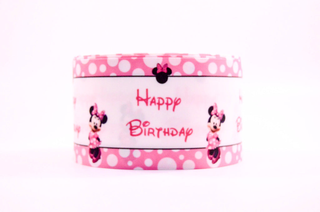 "3"" Wide Pink Happy Birthday Minnie and Dots Printed Grosgrain Cheer Bow Ribbon"