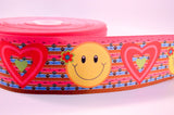 "3"" Wide Hearts Peace and Emojis Printed on Grosgrain Cheer Bow Ribbon"