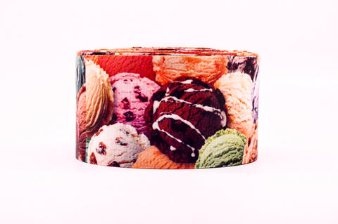 "3"" Wide Colorful Ice Cream Printed White Grosgrain Cheer Bow Ribbon"